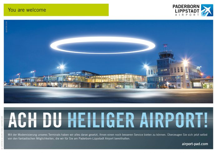 Anzeige heiliger Airport Paderborn_Lippstadt_Airport-Anzeige_Motiv_Ach_du_heiliger_Airport-©-Anzeigenkonzept_und_Design-Carsten_A_Saupe-CeSa-Creative_Director_in_Berlin-Quotor_Design