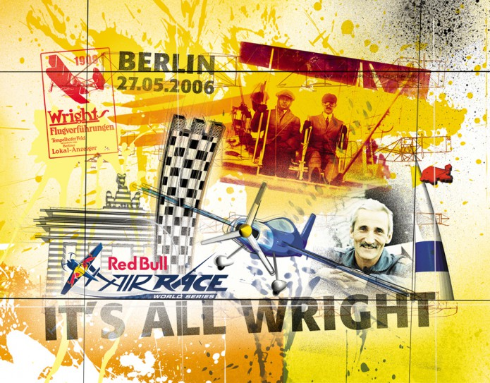 Grossartiges Gastgeschenk RedBull Air Race Kunst_Grafik-Artwork_Red_Bull_Air_Race_Bros_Wright_Pilot_Bessenyei-©_Artwork_Carsten_A_Saupe-CeSa-Creative_Director_in_Berlin-Quotor_Design