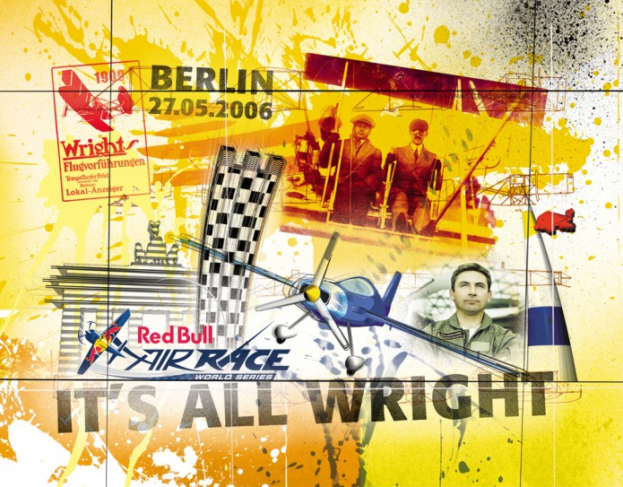 Grossartiges Gastgeschenk RedBull Air Race Kunst_Grafik-Artwork_Red_Bull_Air_Race_Bros_Wright_Pilot_Bonhomme-©_Artwork_Carsten_A_Saupe-CeSa-Creative_Director_in_Berlin-Quotor_Design