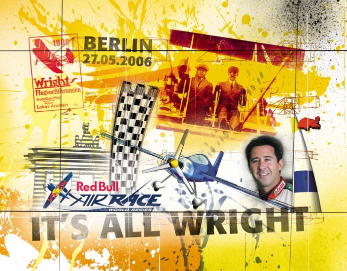 Grossartiges Gastgeschenk RedBull Air Race Kunst_Grafik-Artwork_Red_Bull_Air_Race_Bros_Wright_Pilot_Goulian-©_Artwork_Carsten_A_Saupe-CeSa-Creative_Director_in_Berlin-Quotor_Design