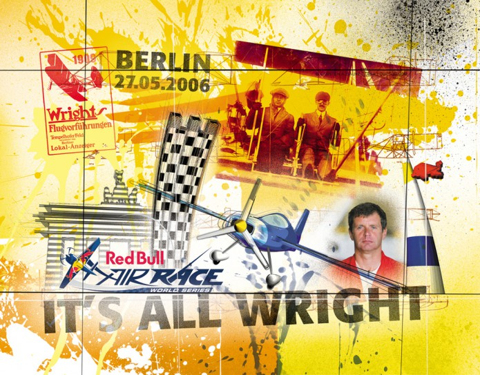 Grossartiges Gastgeschenk RedBull Air Race Kunst_Grafik-Artwork_Red_Bull_Air_Race_Bros_Wright_Pilot_Jones-©_Artwork_Carsten_A_Saupe-CeSa-Creative_Director_in_Berlin-Quotor_Design