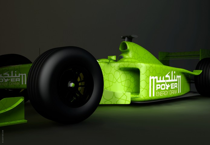 Halal Drink Markenauftritt Muslim-Power-Energy-Drink-F1-Promo-©-Quotor-Design